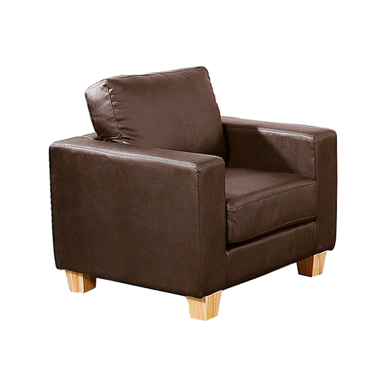 Wasp PU Leather 1 Seater Sofa In Brown