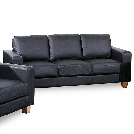 Wasp PU Leather 3 Seater Sofa In Black