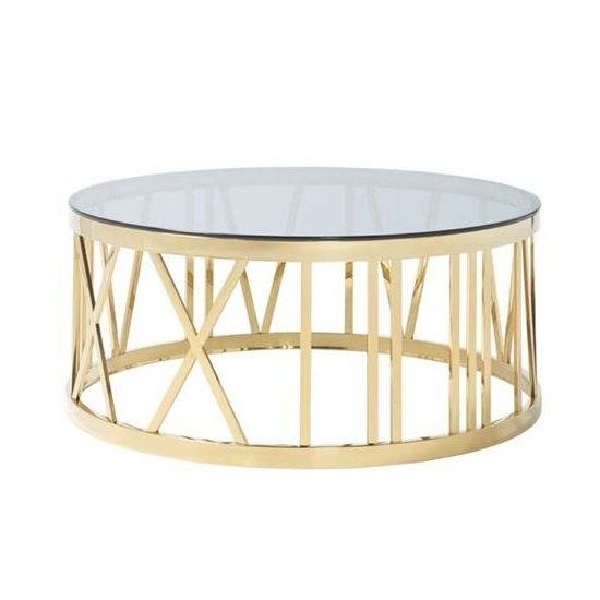 Wasser Glass Coffee Table In Smoked With Gold Plated Steel Base