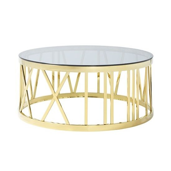 Wasser Glass Coffee Table In Smoked With Gold Plated Steel Base_2
