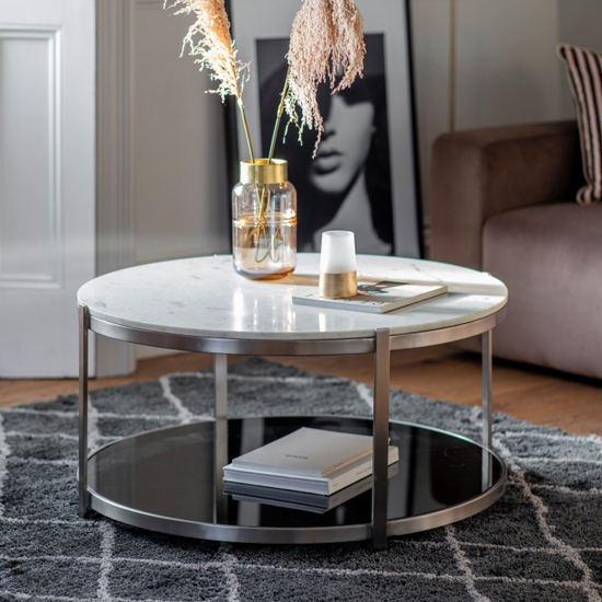 Watchit White Marble Top Coffee Table With Silver Metal Frame