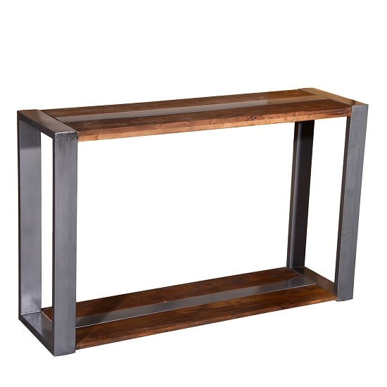 Watford wooden console table in acacia wood and chrome 2 for Table watford