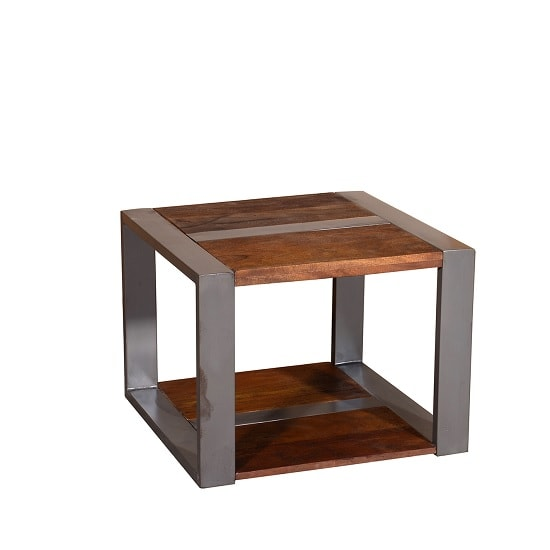 Watford Wooden End Table Square In Acacia Wood And Chrome