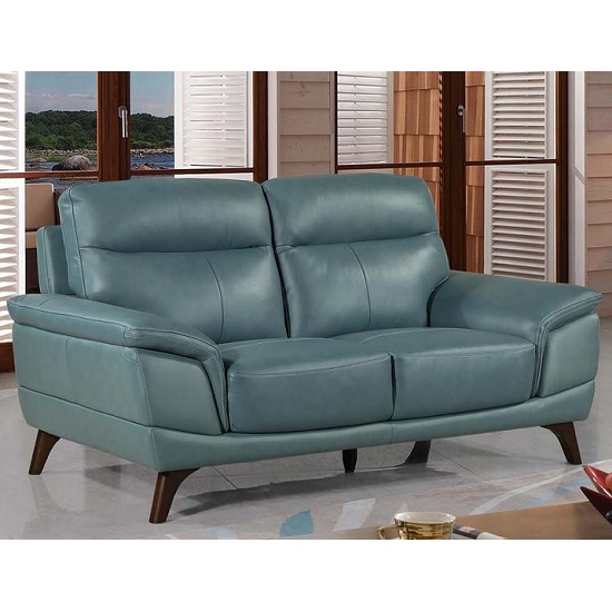 Watham 2 Seater Sofa In Blue Faux Leather With Wooden Legs_1