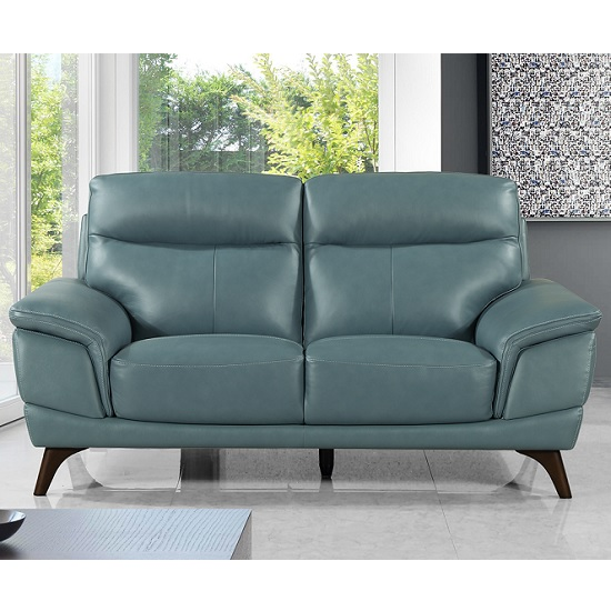 Watham 2 Seater Sofa In Blue Faux Leather With Wooden Legs_2