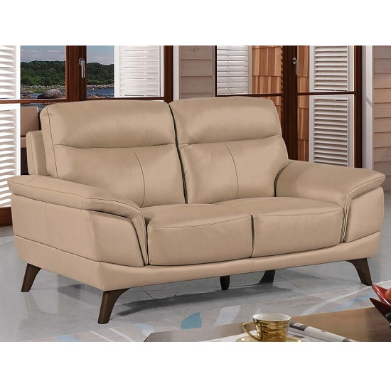 Watham 3 Seater Sofa In Taupe Faux Leather With Wooden Legs
