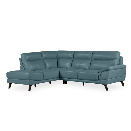 Watham Left Corner Sofa In Blue Faux Leather With Wooden Legs