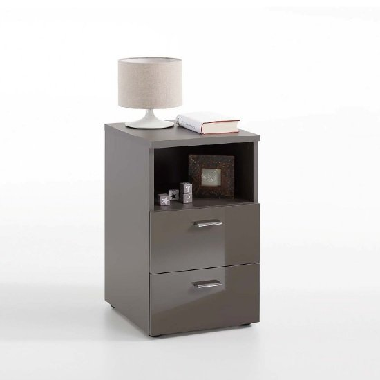Watson Bedside Cabinet In Lava High Gloss With 2 Drawers