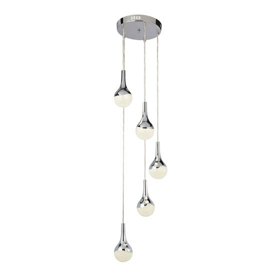 Wave LED 5 Multi Drop Pendant Light In Chrome And Crushed Ice