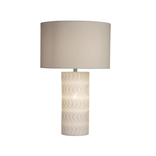 Wave Pattern Ceramic 2 Lights Table Lamp In White
