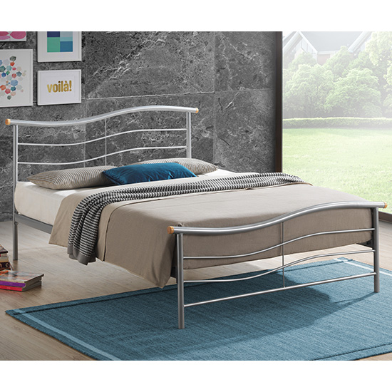 Waverley Modern Metal Double Bed In Silver