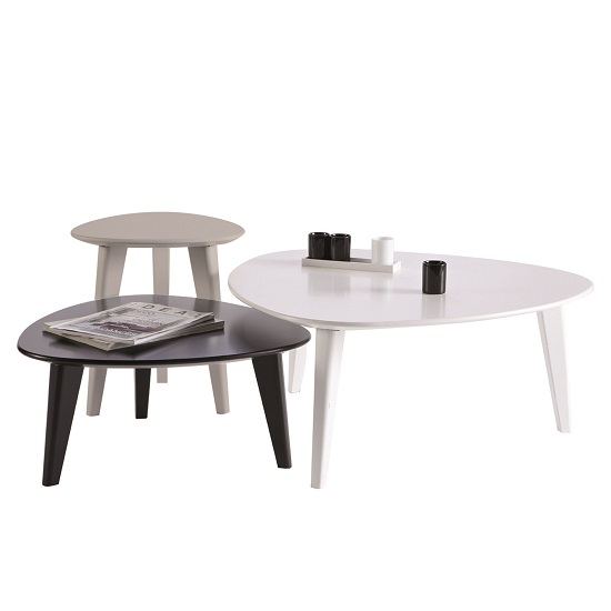 Waverly Set Of 3 Coffee Table In White Black And Grey 28477