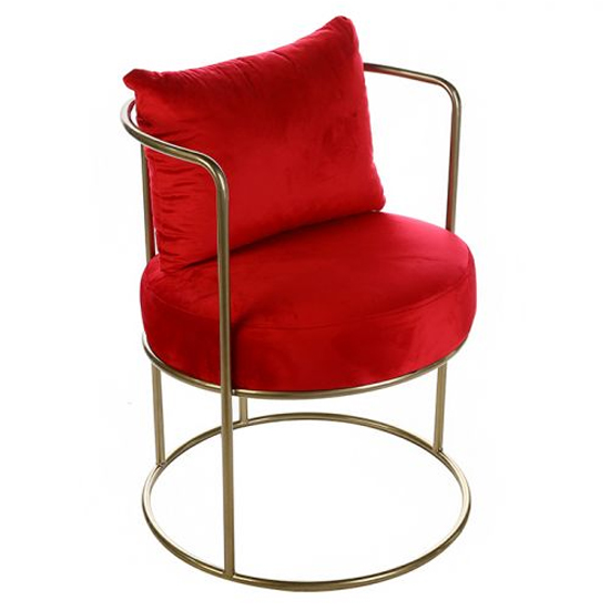 Wavy Velvet Upholstered Lounge Chair In Red With Metal Frame