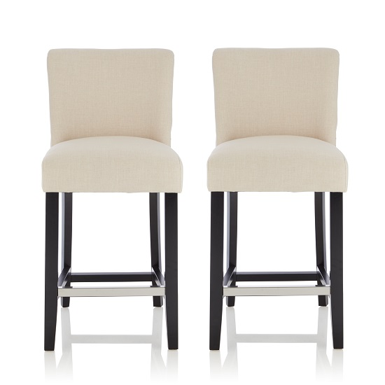 Wayman Bar Stools In Linen Fabric And Black Legs In A Pair_1