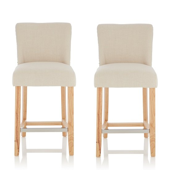 Wayman Bar Stools In Linen Fabric And Oak Legs In A Pair