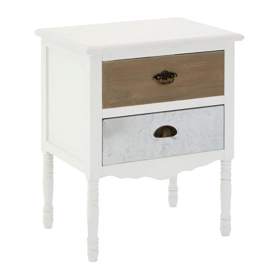 Waymore Wooden 2 Drawers Bedside Cabient In White
