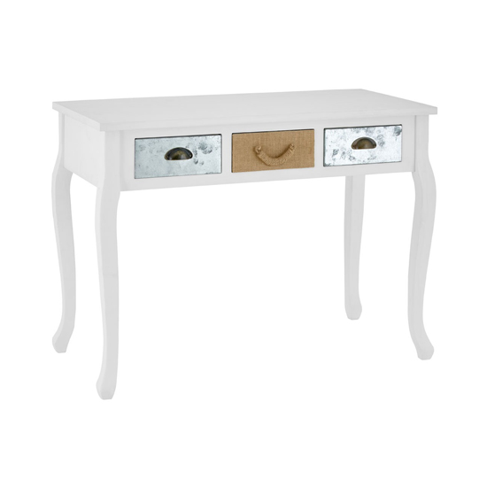 Waymore Wooden 3 Drawers Console Table In White