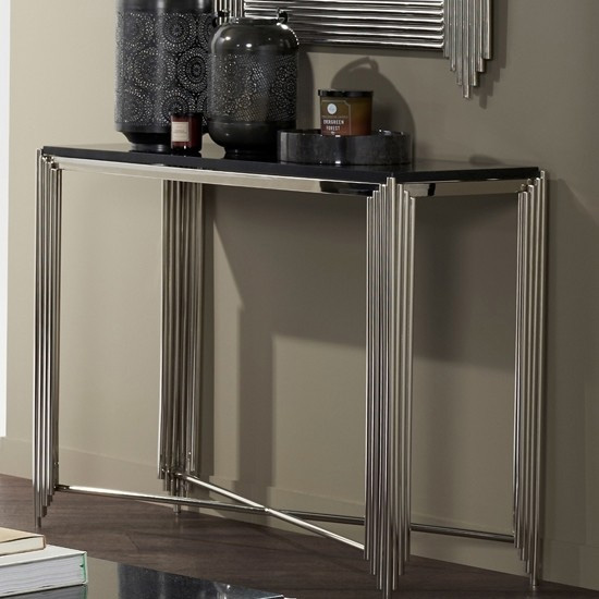 Product photograph showing Wazn Black Granite Top Console Table With Nickel Base