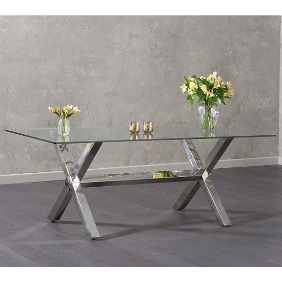 Weaver Glass Dining Table In Clear With Stainless Steel Legs