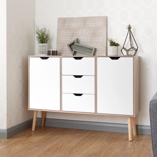 Webster Wooden Sideboard In Oak And White With 2 Doors
