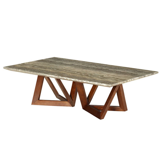 Webstar Paper Marble Coffee Table In Ash With Walnut Base