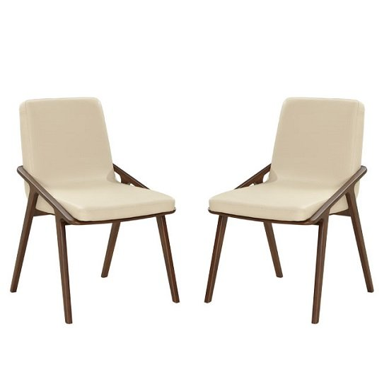 Webstar Dining Chair In Cream And Ash With Wooden Legs In A Pair