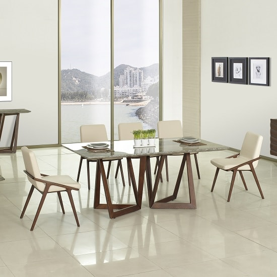 Webstar Marble Dining Table In Multicolor With Walnut Base_2