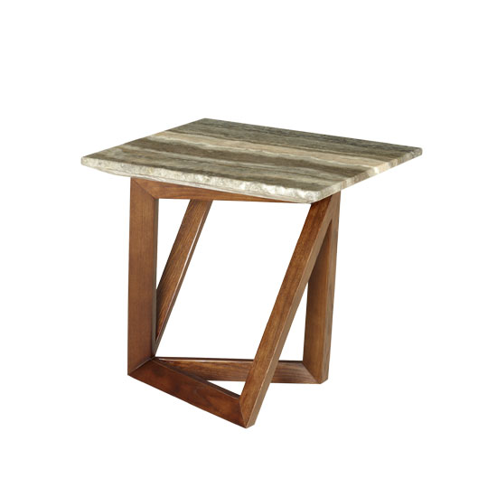 Webstar Marble End Table Square In Multicolor With Walnut Base_1