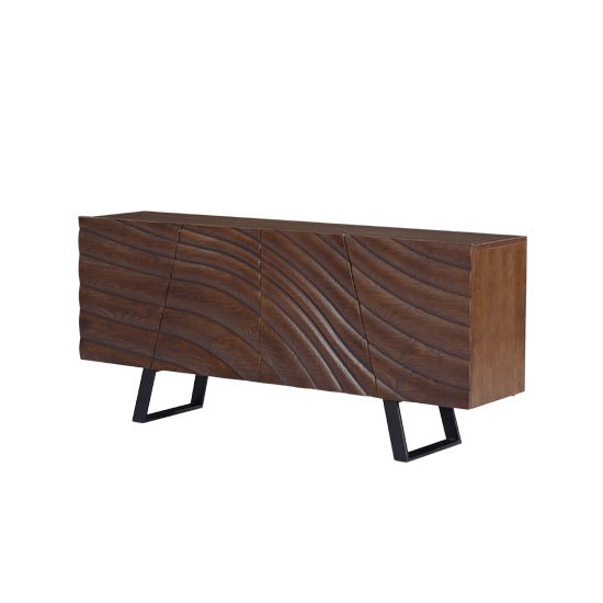 Webstar Wooden Sideboard In Walnut With Metal Legs