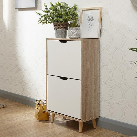 Webster Wooden Shoe Cabinet In White And Oak With 2 Doors_1