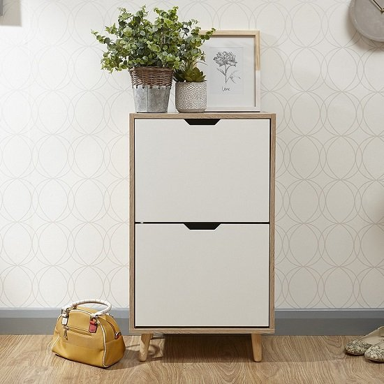 Webster Wooden Shoe Cabinet In White And Oak With 2 Doors_2