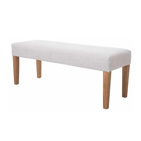 Webster Dining Bench In Beige Fabric With Wooden Legs