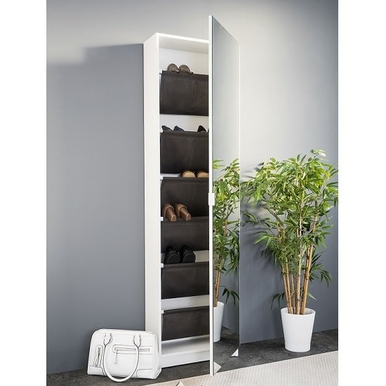 Weimar Mirrored Shoe Storage Cabinet In White