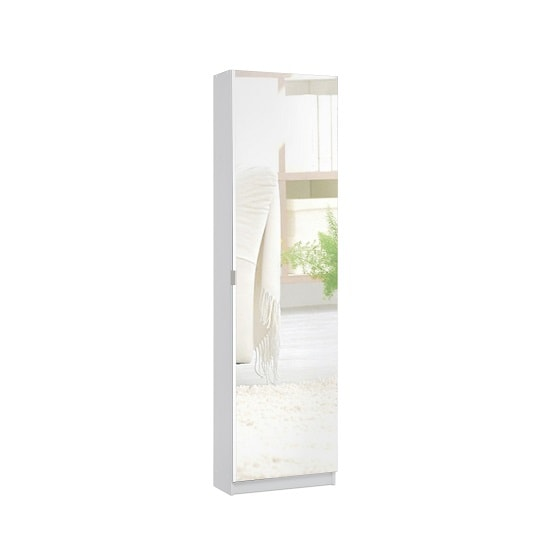 Weimar Mirrored Shoe Storage Cabinet In White_2