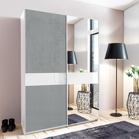 Weimar Sliding Door Mirrored Wardrobe In Concrete Effect