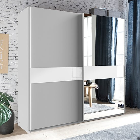 Weimar Sliding Door Mirrored Wide Wardrobe In Light Grey