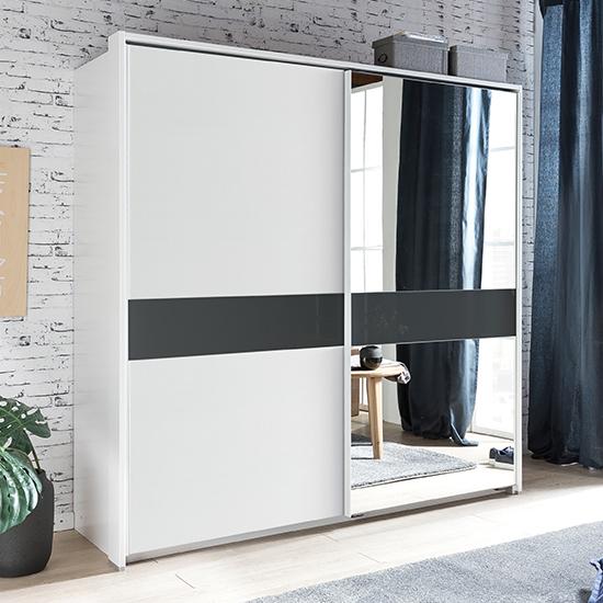 View Weimar sliding door mirrored wide wardrobe in white and grey