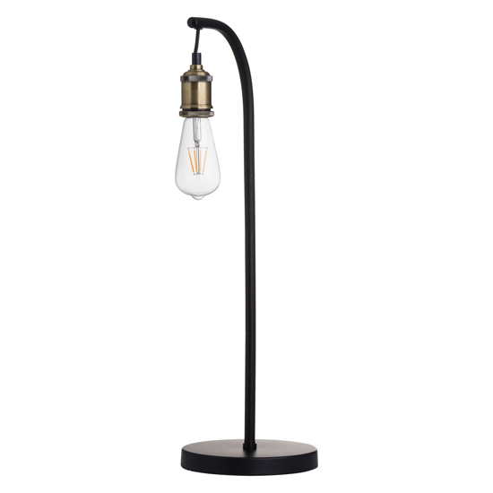 View Weir metal industrial table lamp in black and brass