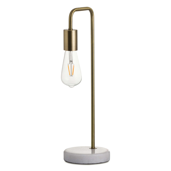 View Weir metal industrial table lamp in brass with marble base