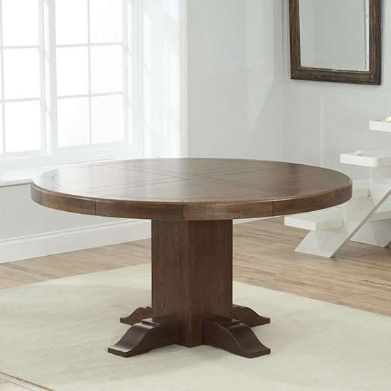Welser Contemporary Wooden Dining Table Round In Dark Oak