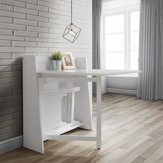 Wembley Folding Console In To A Dining Table Set In White_2