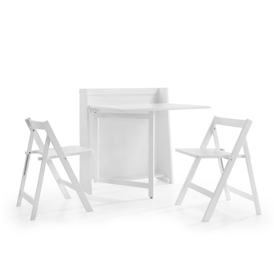 Wembley Folding Console In To A Dining Table Set In White_6