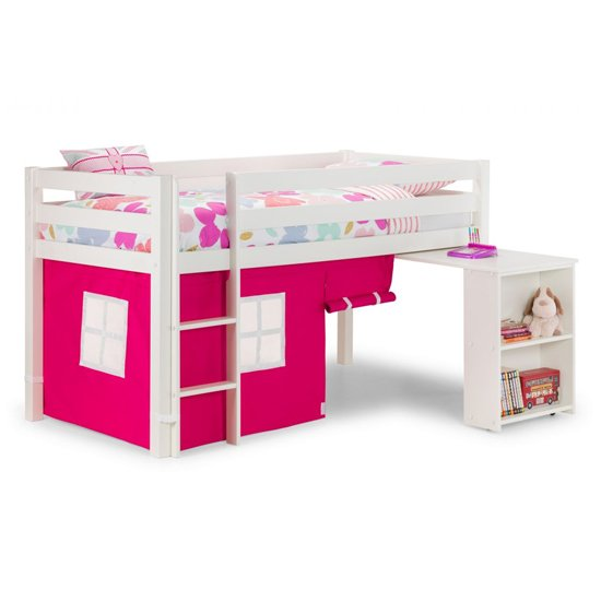 Wendy Midsleeper Bunk Bed In Surf White With Pink Tent