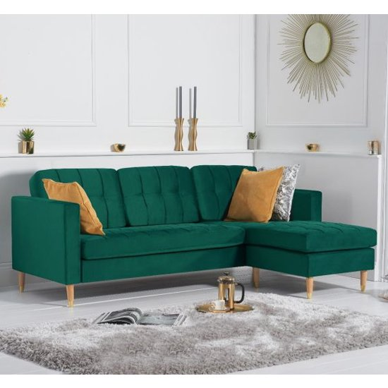 Weridge Velvet Reversible Chaise Corner Sofa In Green