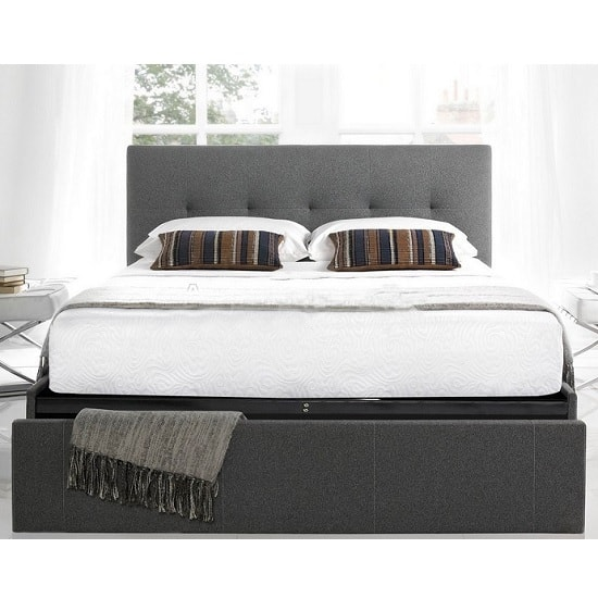 Wesley Fabric Double Bed In Smoke Grey With 1 Drawer