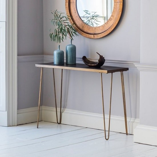 Wesley Console Table Rectangular In Bronze With Metal Legs