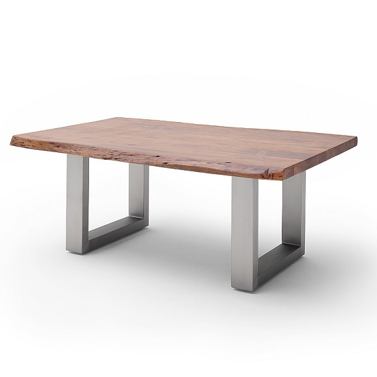 Wessex Coffee Table Rectangular In Walnut And Brushed Steel Legs
