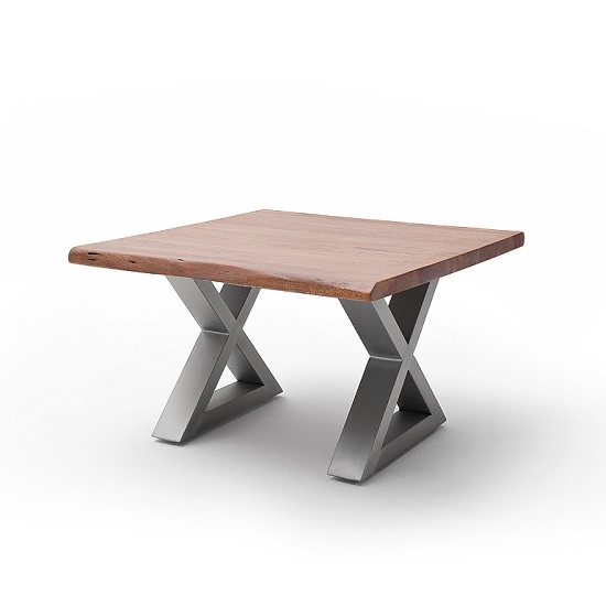 Wessex Coffee Table Square In Walnut And Brushed Stainless Steel_2