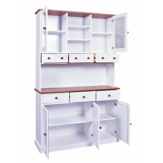 Westerland 5 Door Display Cabinet In White And Oak With 6 Drawer_2