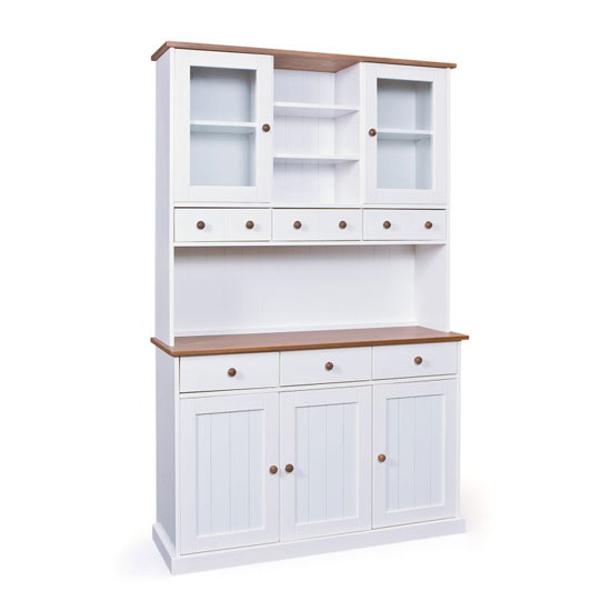 Westerland 5 Door Display Cabinet In White And Oak With 6 Drawer_3